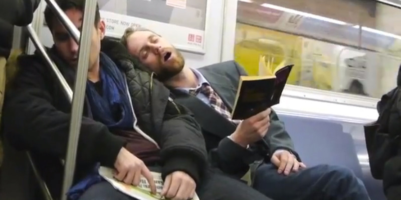 Image result for sleeping in metro gif